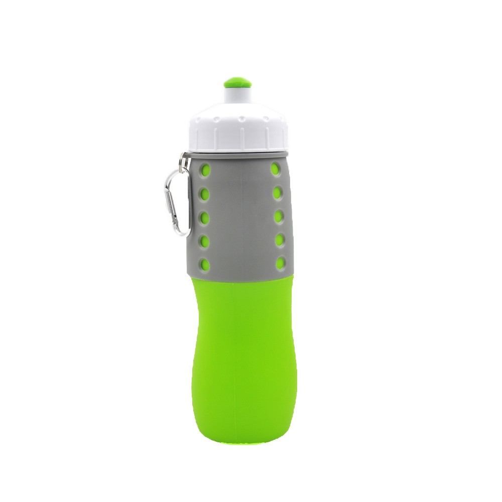 Sports bottles wholesale Best Collapsible Foldable Silicone Bottle 650ML Green best silicone bottle