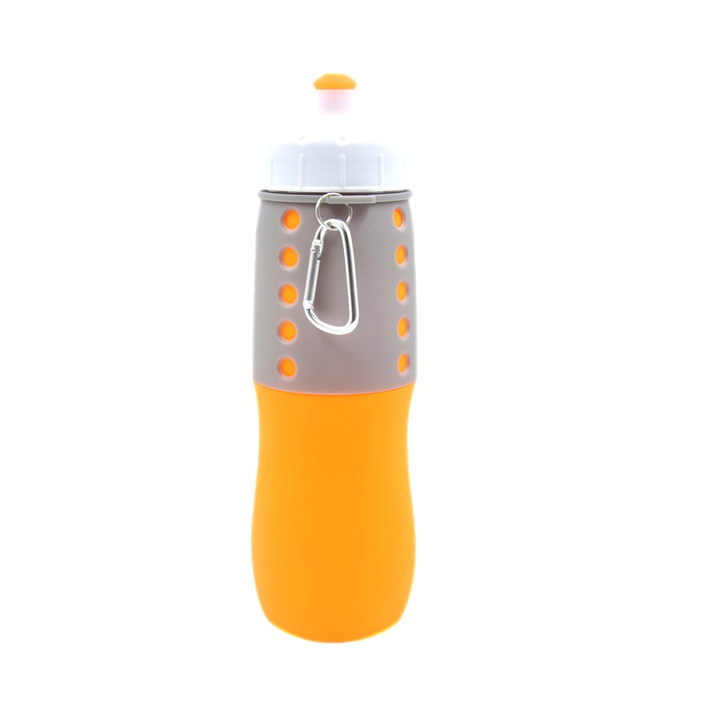 BPA free Silicone Collapsible Water Bottle for good protein shakes 650ML Orange price descending