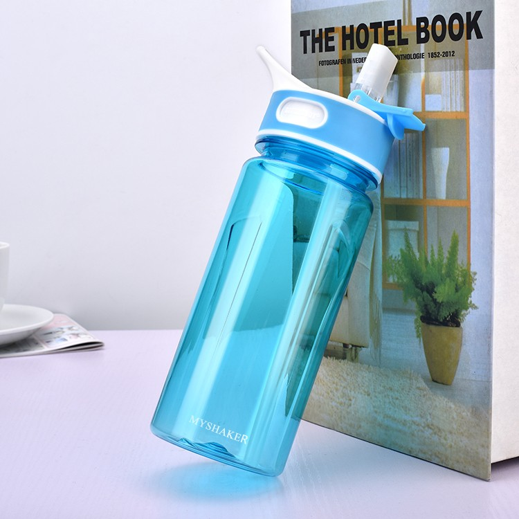 MYSHAKER Water Bottle with Ice Cube, Holder Sports Bottle with 6pcs Ice Cooler, Drinking Bottle with Straw and Handle