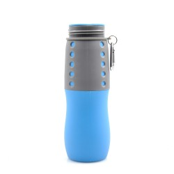 Sports Collapsible Water Bottle for whey isolate protein BPA free 650ML Blue free shaker bottle